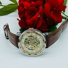 Mens MG. ORKINA Stainless Steel Automatic See Thru Brown Leather Band 41mm Watch