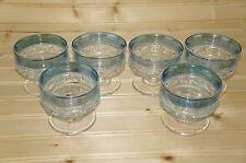 "Tiffin King's Crown Blue Flashed Lot of (6) Dessert Sherbet Champagne Glasses 3"""