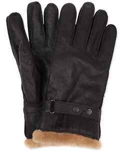 Barbour Men's Leather Utility Faux Fur Lined Gloves in Brown-Size XL