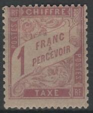 "FRANCE STAMP TIMBRE TAXE N° 39 "" DUVAL 1F ROSE SUR PAILLE 1896 "" NEUF x TB K557"