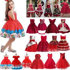 Kids Baby Girls Party Dress Festival Red Princess Wedding Bridesmaid Tutu Dress