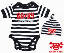 BABY I WILL ROCK YOU Body+Mütze Set schwarz/weiß gestreift