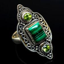 Malachite, Peridot 925 Sterling Silver Ring Size 8.25 Ana Co Jewelry R17737F