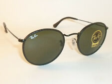 New RAY BAN Round Metal Sunglasses Black Leather RB 3475Q 9040 G-15 Green Lenses