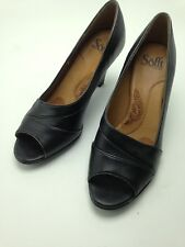 Sofft Black Women's Open Toe Career Heels Pumps Black Leather Size 8