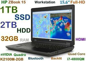 """Workstation HP ZBook i7-Quad (1TB SSD + 2TB HDD) 32GB 15.6"""" FHD nVIDIA K2100M"""