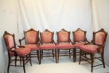 Antique 1870' Victorian Eastlake Renaissance Revival 6 Dining Chairs Needlepoint