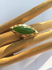 R12 antique JADEITE RING un-treated BRIGHT GREEN size 7 sterling/14k c.1900 JPN