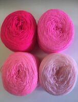Lace yarn Crystal Colors 64/144/3/186 Acrylic/Rayon 900 yards per ball.1 lot of4
