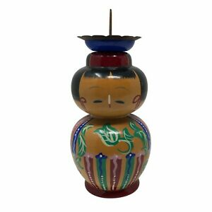 Kokeshi Doll Candle Holder Japanese traditional crafts Yellow Red Floral