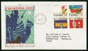 MayfairStamps Cover 1970 Block Christmas Jackson Canada FDC 1970 First Day Cover