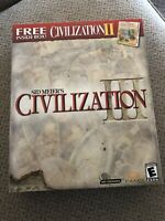 SEALED Sid Meier's Civilization III 3 (PC, 2000) Big Box With Civilization 2