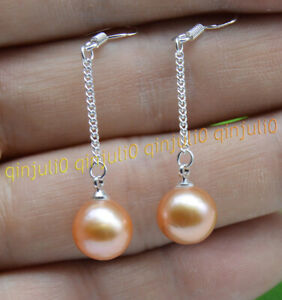 Perfect 10-10.5mm Pink Natural Seawater Round Pearl Dangle Hook Chain Earrings