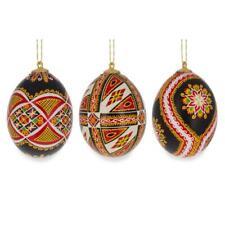 Set of Three Real Eggshell Pysanky Ukrainian Easter Egg Christmas Ornaments 2.5