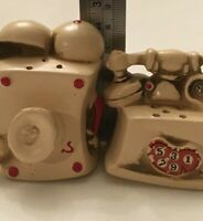 Old-time Telephones Novelty Vintage Salt & Pepper Shaker Set - Rotary and Wall