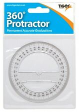 360 DEGREES MATHS PROTRACTOR - PERMANENT ACCURATE GRADUATIONS - 100MM/4""