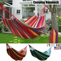 Outdoor Travel Canvas Hammock Double Person Garden Camping Hanging Bed Swing NEW