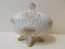 hübsch große bonbonniere box opalglas signiert weiß und golden epoche 1950