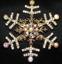 Rhinestone Crystal Gold Brooch Pin Christmas Gift Snowflake Clear and Ab