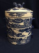 Chinese Porcelain 3 Stack Lunch Box blue & white with dragon handle on lid