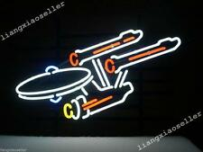 Rare New Star Trek Enterprise Space Ship Real Glass Neon Light Beer Bar Pub Sign