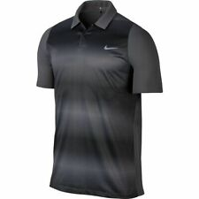 Nike Tiger Woods Collection Mens Sz L Gray Velocity Max Sphere Stripe Polo Shirt