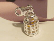 LOBSTER CLIP ON SILVER BIRD CAGE CHARM -  FIT CARRIER BRACELET