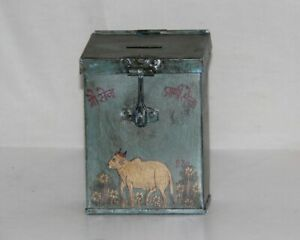 Vintage Wooden Nandi/Cow Light Blue Donation Box/ Fund Raising Charity Box Colle