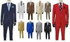Men's Formal Slim Fit Suit 2 piece two button solid colors Jacket & Pants 702ps