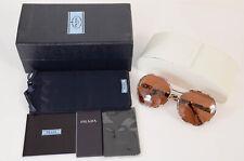 Prada SPR53T brown tortoise geometric gradient round frame sunglasses NEW $500