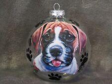 "HAND MADE BOXER PUPPY DOG 4"" GLASS CHRISTMAS ORNAMENT/BALL"