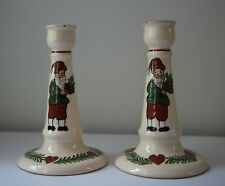 Swedish ? Scandinavian Hand Painted Ceramic Pottery Candle Holders Signed