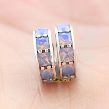 2pcs 925 Sterling Silver Eternity Opalescent White Crystal Spacer European Charm