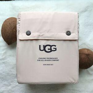 UGG Summer Cooling Wrinkle Resistant 'Alahna' KING Sheet Set, Shell Pink NWT