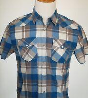Ditch Plains Western Shirt Mens Medium M Thin Plaid Pearl Snap Rodeo Cowboy