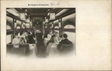 Burlington Route Rr Train Interior Dining Car c1915 Postcard