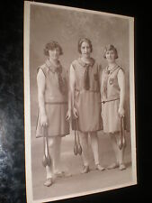 Old photograph girl jugglers or fitness by kirton at Douglas IOM c1920s