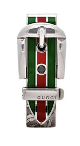 AUTHENTIC Gucci Men's Sterling Silver ENAMEL Green & Red Buckle Money Clip NEW!