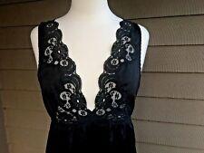 Black Satin Lace Nightgown Ralph Montenero for Blanche Vtg 70s Union Tag USA