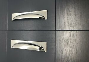 Long Cup Handles in Polished Chrome 2 sizes Kitchen and Cabinet Handles