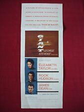 GIANT *1956 ORIGINAL MOVIE POSTER INSERT ELIZABETH TAYLOR ROCK HUDSON JAMES DEAN