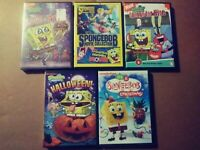 LOT OF 5 SPONGEBOB DVD'S - SPONGE FOR HIRE, TO LOVE A PATTY, MOVIE COLLECTION..