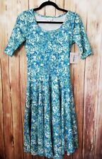 LuLaRoe Nicole S Floral Blue Green Cream Small Dress NWT Spring