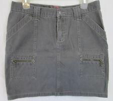 Roxy Skirt Gray Cargo Pockets 5 100% Cotton Short Mini Punk Zippers Summer
