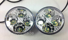 2 x 4 High Power LED DRL Daytime Running Lights Lamps Round White E4 Marked