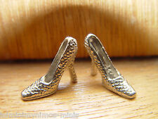 DOLL HOUSE 12th SCALE PAIR OF 'SILVER' DECORATED HIGH HEEL SHOES !! BID NOW