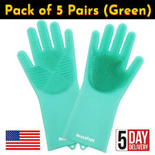 5 Pairs of Green Silicone Gloves for Dish Washing, Kitchen, Bathroom Cleaning