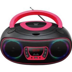 CD-Player mit Discolicht Radio USB Bluetooth MP3 AUX Denver TCL-212BT PINK
