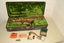 "ANTIQUE ca.1930 Vintage FRANK HOLTON Melody ""C"" SAXOPHONE Case Mouthpiece +EXTRA"