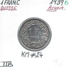 SVIZZERA - 1 FRANCO - 1939 B - moneta in argento Conservazione: TTB